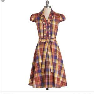 Modcloth about the artist rainbow plaid dress